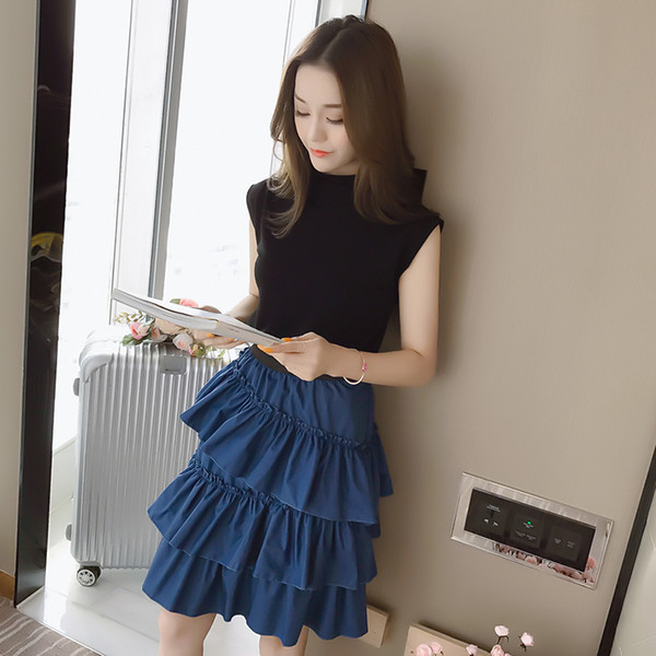 Ladies 2 Two Piece Set 2018 Women Sleeveless Top Shirts Mini Cake Skirts Suits Office Lady Casual Tracksuit Tees And Skirts Sets