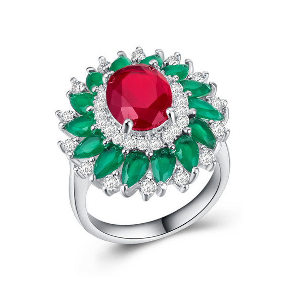 Exquisite Sunflower Red Green Gemstone Cz Wedding Ring 925 Silver Filled Jewelry Finger Ring For Bridal Engagement Size 6-10 Drop Shipping