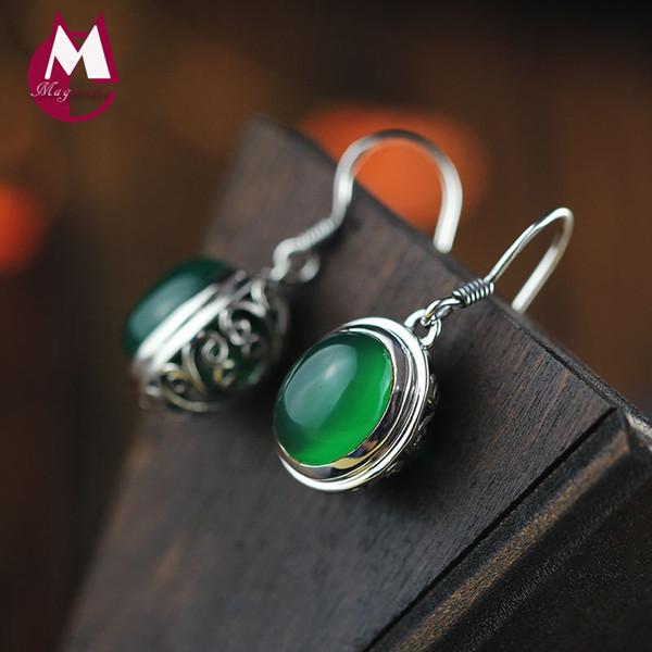 12MM Natural Stone Gem Jade Earrings 925 Sterling Silver Drop Earrings For Women Jewelry Vintage Hollow Flower Earrings SE08 Y18110110