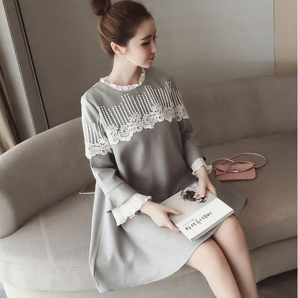 Maternity Clothes New Autumn Fashion Lace Stitching Loose Plus Size Dress Women Clothes for Pregnant Pregnancy Clothing