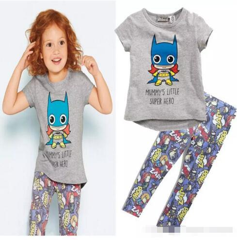 Whosale girls summer t-shirt children summer cotton clothes sets Ins explosion girl Batman T-shirt hero Leggings suit baby cartoon suits B11
