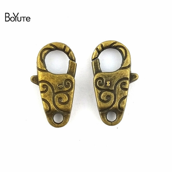 BoYuTe (20 Pieces/Lot) 13*24MM Vintage Zinc Alloy Antique Bronze Silver Plated Lobster Clasp Hooks for Diy Bracelets Jewelry Making Finding
