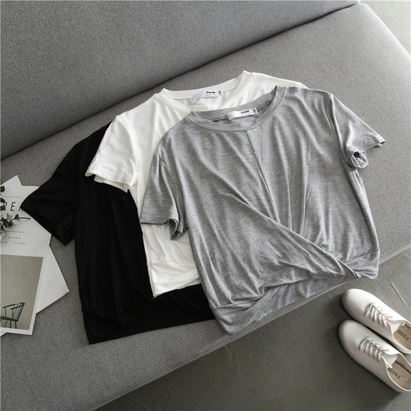 Lady sexy short sleeve crop top woman casual crew neck solid color short shirt tops M L