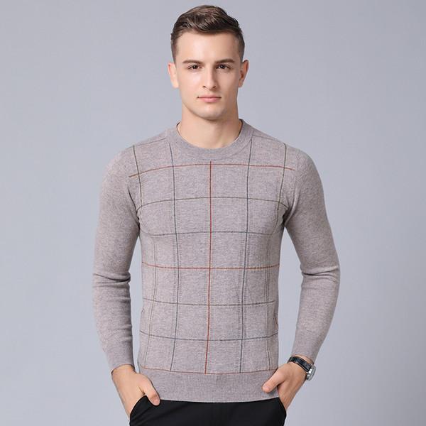 GREVOL Oansatz Wollpullover Männer Markenkleidung Hohe Qualität Dicke Warme Pullover Plaid Pullover Männer Lässige Mode 1836