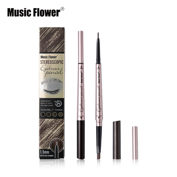 top popular Music Flower Brand Stereoscopic Eye Makeup 4 Color Double Head Eyebrow Pencil Brows Natural Tone Long-lasting Silky Cosmetics 2020