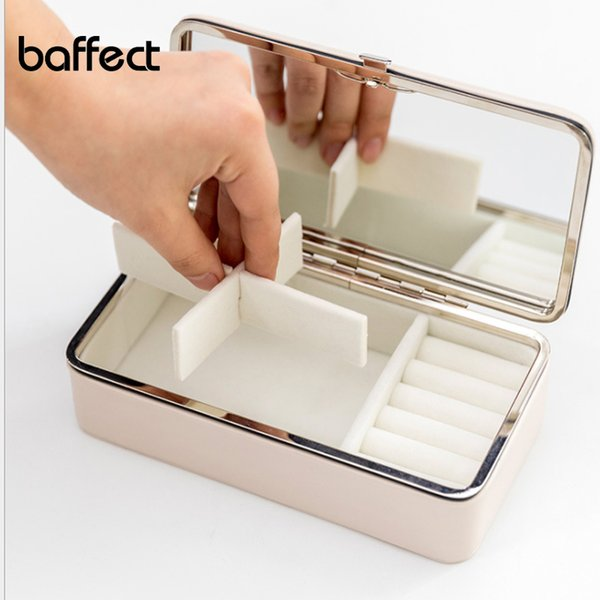 Portable Mini PU Jewelry Box Carrying Case with Glass Cover Jewelry Ring Display Box Tray Holder Storage Organizer