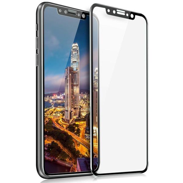 Top qualité pour iPhone XR XS MAX X Protection d'écran Samsung Glass 3D trempé 9H dureté 2.5D PET bord doux avec emballage