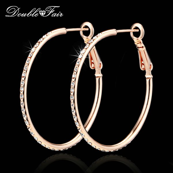 Double Fair High Quality Vintage Big Round Hoop Earrings For Women Rose Gold Color New Fashion Jewelry Wholesale DFE307 Brincos