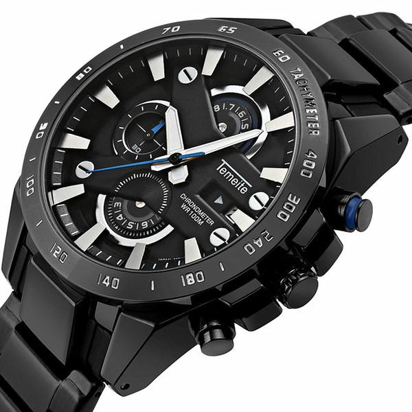 Новый многофункциональный календарь Luxury Brand Спортивные кварцевые часы Большой циферблат Мужские часы из нержавеющей стали Водонепроницаемый уникальный дизайн наручные часы