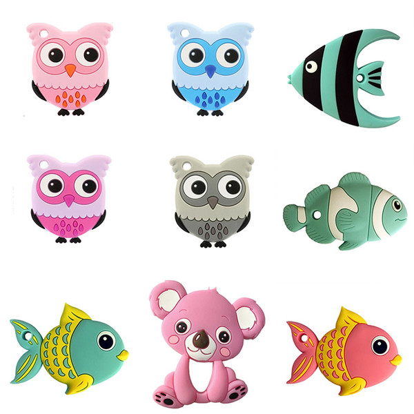 best selling Infant Fish Bear Rabbit Owl Koala Mouse Car Panda Teethers food silicone Toddler Animal Soothers baby molar training C4518