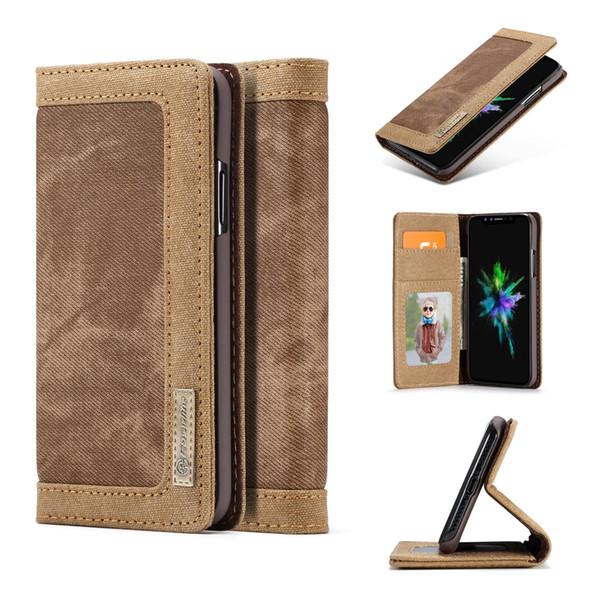 Original CaseMe Brand Flip denim Case For Apple iPhone X Stand Wallet Case for iPhone 8 8 Plus denim case with kickstand