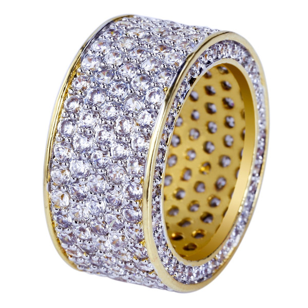 New Fashion Hip Hop Anéis Todos para fora congelado Micro Pave Zirconia Cubic 11 milímetros largura do anel por Homem BR023