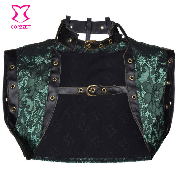 Green Floral Brocade Women Small Coat Bolero Jacket Corset Steampunk Gothic Clothing Corsets And Bustiers Costume Accessories