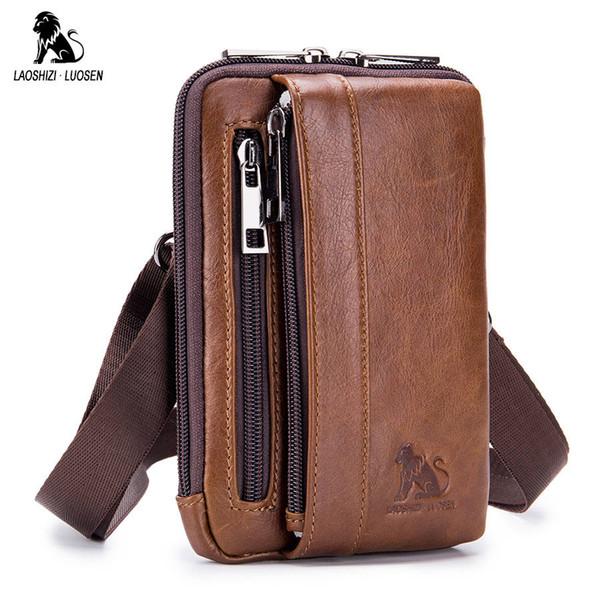 LAOSHIZI LUOSEN Waist Fanny Packs Belt Bag Genuine Leather Small Messenger Shoulder Bag Men Phone Pouch Bags Cigarette Case