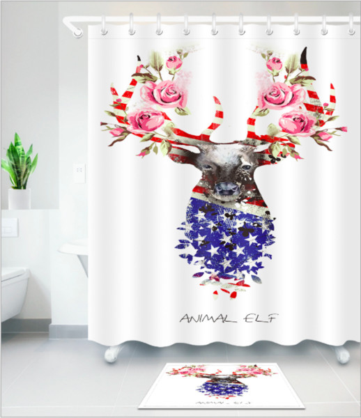 Lovely deer pattern 3D Print Custom Waterproof Bathroom Modern Shower Curtain Polyester Fabric Bathroom Curtain Door mat sets