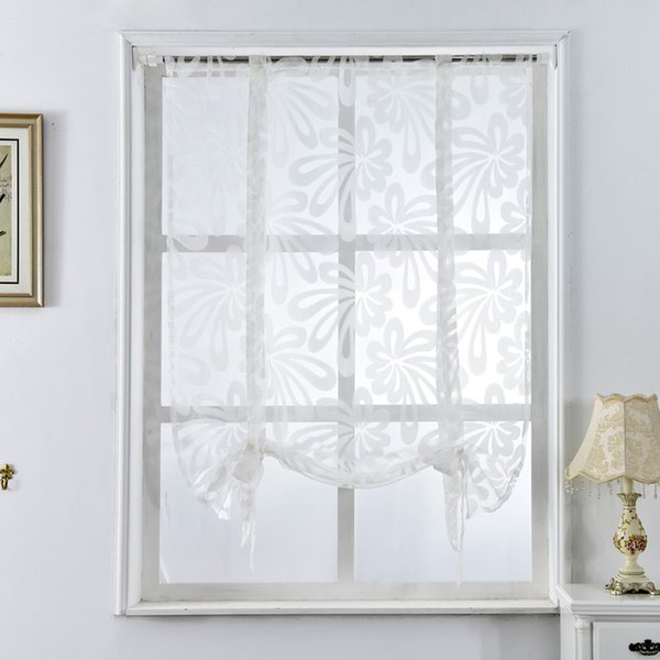 2019 Window Kitchen Short Curtains Jacquard Roman Blinds Floral White Sheer  Panel Blue Tulle Window Treatment Door Curtain Home Decor From ...