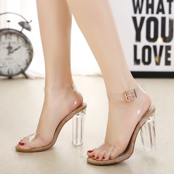 Europe and America, new style, high heels, a word belt, peep, show, crystal shoes, transparent, thick heel, women's sandals