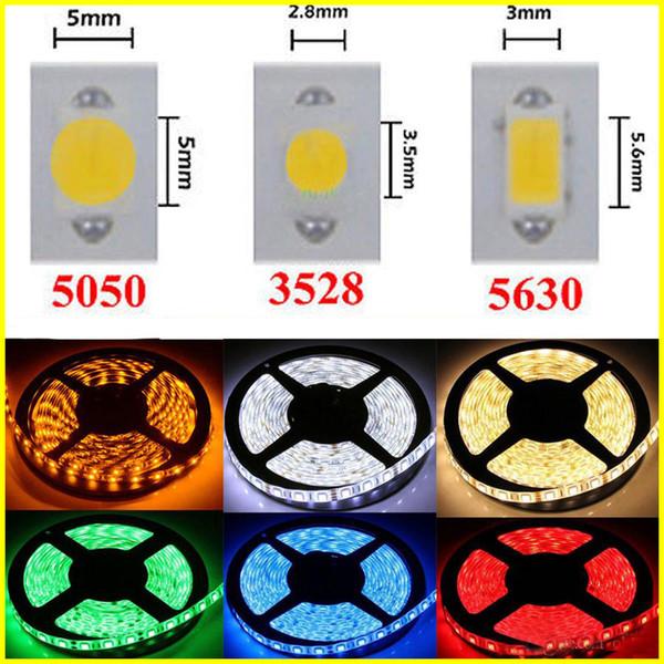 Striscia LED 12V SMD3528 5050 5630 strisce 300led Nastro impermeabile per striscia flessibile Home Bar Decor Lampada Led 5M / roll RGB