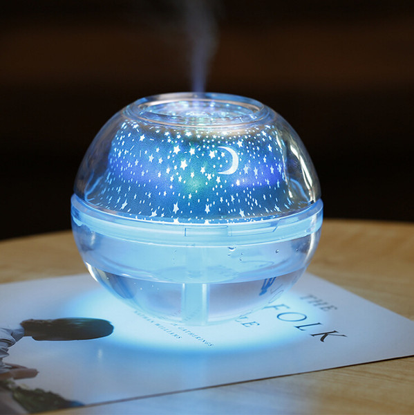 Night light humidifier USB creative home colorful projection air purification humidifier crystal projection humidifier large capacity