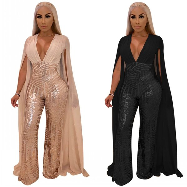 2019 Newest Sparkle Sequins Sexy Women Jumpsuits Pants Long Chiffon Cap Sleeves Backless Fashion Party Club Jumpsuits Black Champagne