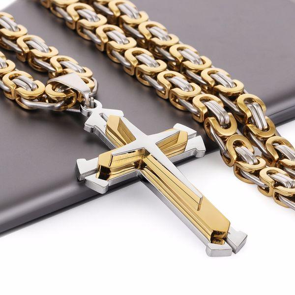 Edelstahl Anhänger Halskette 3 Schichten Ritter Kreuz Gold Silber Ton Starke Byzantinische Kette Herren Modeschmuck Väter Geschenk