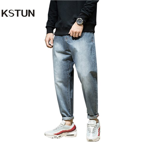 wholesale Men Harem Pants brand 2018 Jeans Casual Trousers Men Joggers Washed Tapered Baggy Loose fit Men's Clothing Pure Retro Blue