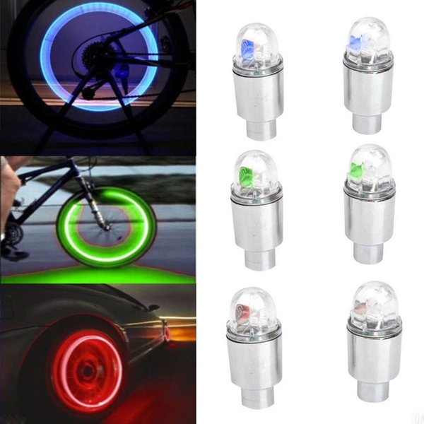 2pcs Bicycle Cycling Wheel Tire Valve's Tire Bulb Cycling LED Flash Lamp Firefly Effect Tyre Valve Cap Light Bycicle Accessories