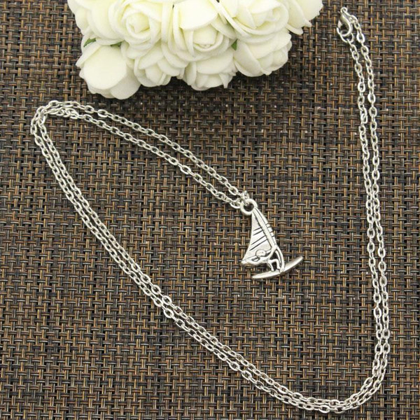 whole saleNew Fashion Necklace windsurfer surfing sailing 26*16mm Silver Pendants Short Long Women Men Colar Gift Jewelry Choker