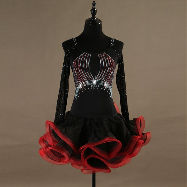 NOVO Adulto / Menina Vestido De Dança Latina Salsa Tango Chacha Salão de baile Concorrência Dança Vestido Preto + Vermelho Strapless Rhinestone Fishbone Vestido Personalizado