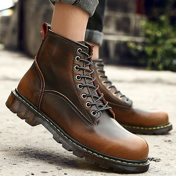 Big size 35-46 2017 Quality Genuine Leather shoes men Boots High Top Motorcycle Autumn Winter shoes Lover snow Boots