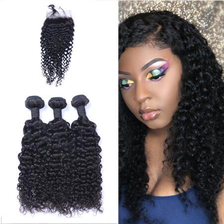 Brazilian Jerry Curl Virgin Hair 3Bundles+Lace Closure Unprocessed Peruvian Malaysian Indian Human Hair Extensions Hot Selling Human Hair