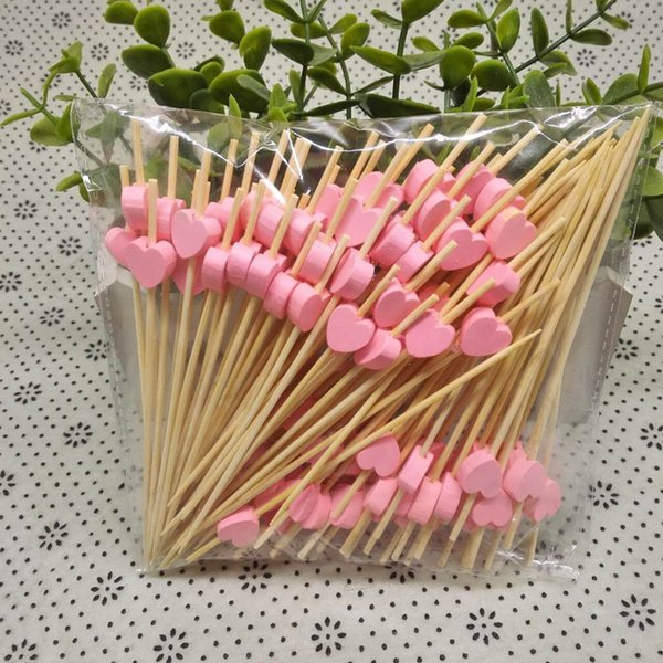 100pcs/pack Disposable Bamboo Fork Heart Shape Cupcake Fruit Dessert Toothpick For Wedding Party new Year Festival supplies