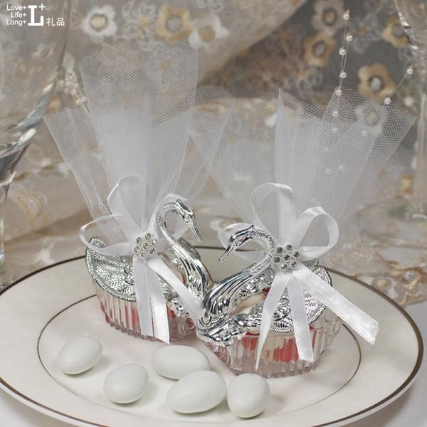 Nouveau gros Articles De Fête De Mariage De Noël Cadeau De Célébration De La Saint-Valentin Élégant Romantique Swan Boîte De Bonbons Faveurs Décoration