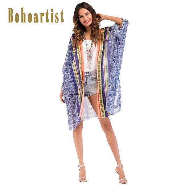 Bohoartist Women Summer Blouse Cover-Up Print Summer Tops Beachwear Loose Style Thin Tops Cheap Clothing Boho Ladies Beach Capes