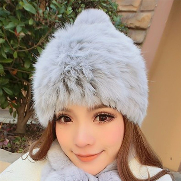2018 Winter Warm Women Fluffy Faux Rabbit Fur Hats Cap Ladies Pom Pom Hat Female Beanies Skullies Bonnet Fur Caps Femme Gorro
