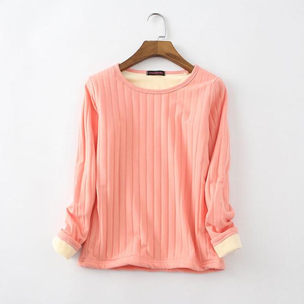 Yeni Kadın Sonbahar Kış T Gömlek 2018 Tees Uzun Kollu Sıcak Kalın Kadife T-Shirt Kadın Dip Gömlek İç Çamaşırı Artı Boyutu Tops