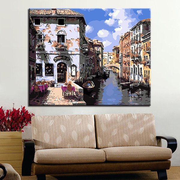 Painting By Numbers DIY Oil Pictures Kits Handpainted Venice Water City Building Bridge Scenery On Canvas Wall Art Home Decor