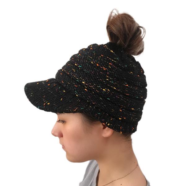 Compre Ponytail Beanie Hat Mujeres Crochet Knit Cap Sombrero De ...
