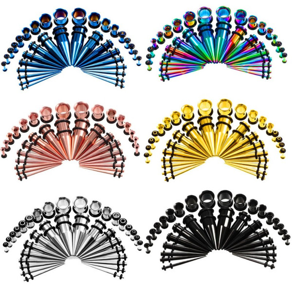 36pcs / set 6 styles hot ear jauge conique et plug étirement des kits chair chair tunnel expansion corps piercing bijoux boucle d'oreille 14G-00G G79L