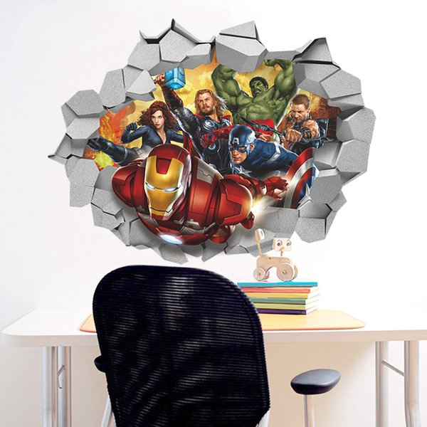 The Avengers 3D Stickers Dimensional Broken Wall Stickers PVC Waterproof Wallpapers Arts Murals Can Be Removable Self-adhesive Home Decor