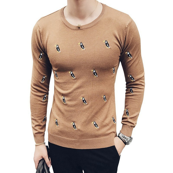 6 Colors Bird Pattern Swetwers Hombre Men Royal Blue Red Black Khaki Grey White Male Stweater Trui Heren Pullover Sweaters Men