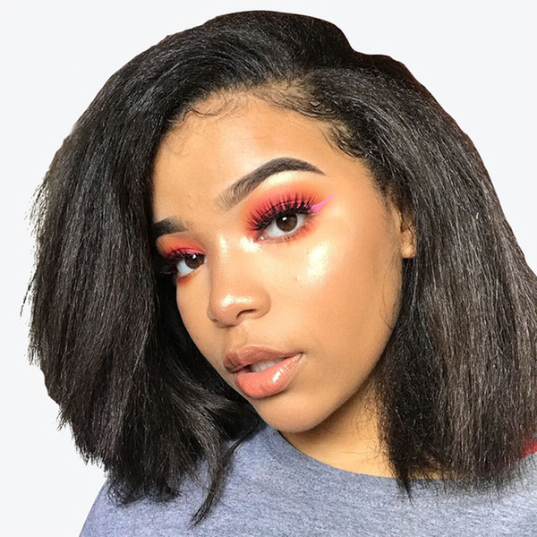 Short Bob Style Lace Front Human Hair Wig 10-30'' Yaki Straight Middle Free Side Part Wig Glueless Full Lace Wig With Baby Hair