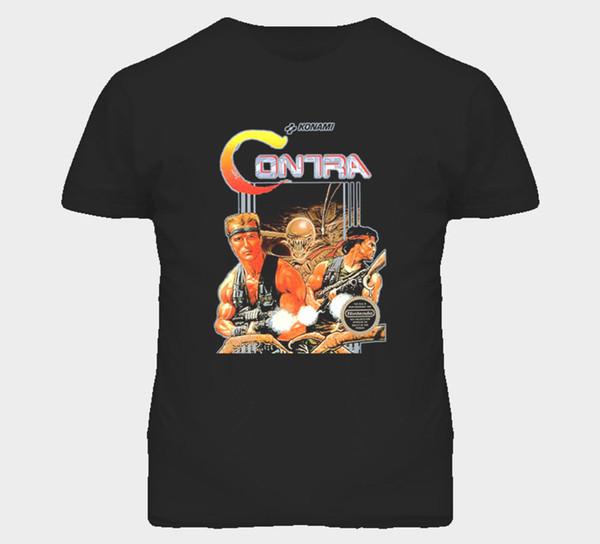 Contra Nes Klassische Videospiel Box Kunst T-shirt Herren T-shirt Sommer O Hals Baumwolle Lustige Casual Marke Shirts Top