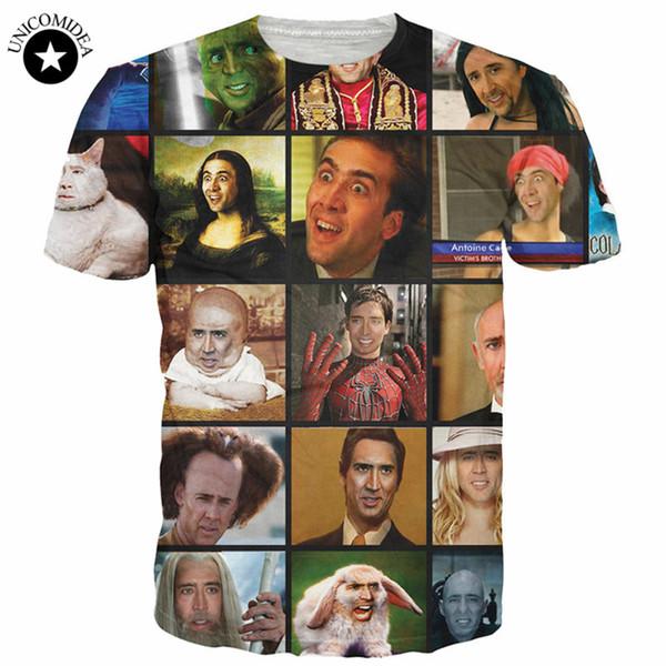 2018 Nueva Moda Camisetas Divertidas Nicolas Cage Rage Verano Hombres 3d Camiseta gráficos de Manga Corta Camisetas Top Mujeres Hombres Anime Estrellas
