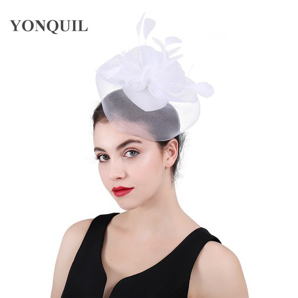 White flower Bridal tulle face hair clips wedding accessory fascinators married fedora women cocktail headwear fancy feather hat SYF415