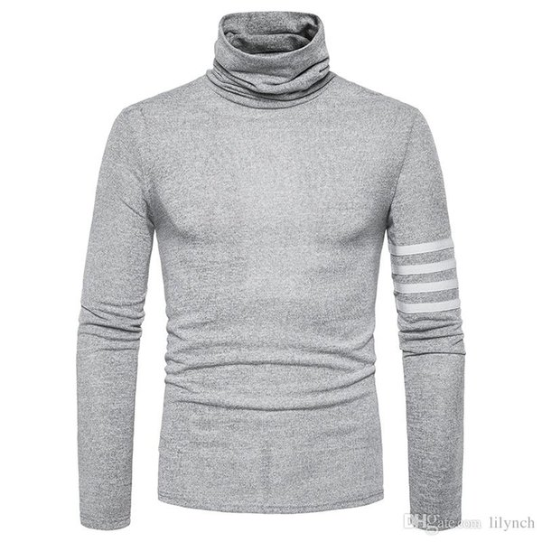 2017 autumn winter Europe new high-necked sweater Korean men's self-cultivation sweater brand clothing solid color long-sleeved Slim