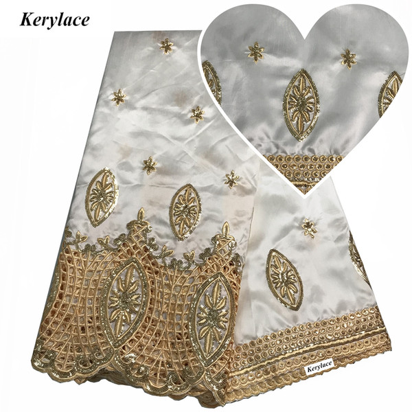KERYLACE White New Silk Nigerian Lace Sequins Fabric George Lace Wedding Dresses African George Fabric Style Embroidered Women Mesh KRL-9151