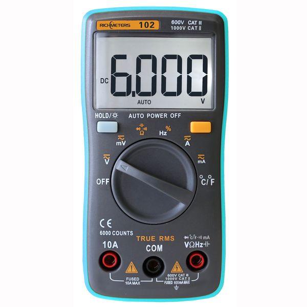 RM102 Digital Multimeter DC AC Voltage Current Resistance Diode Capacitance Temperature Tester Automatic Polarity Identification