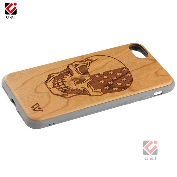 Series skull design wood phone case for iPhone 6 6s 7 8 6plus 7plus 8plus s plus, multi layer case for i Phone