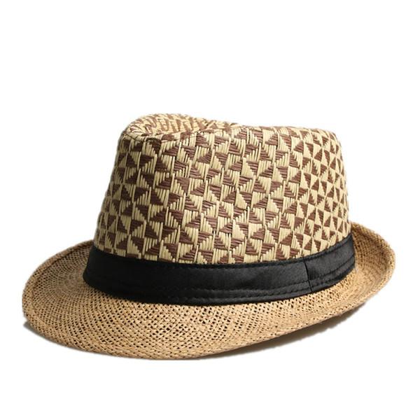 Fashion Summer Straw man and women's Sun Hats Fedora Trilby Gangster Cap Summer Beach Women Sun Straw Panama Hat with